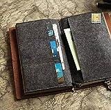 Standard Size Felt Fabric Credit Card Holder for Travelers Notebook Pockets Pouch For Receipts Bills Cash Checks Dark Gray