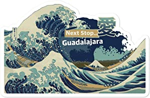 Passion Fury Guadalajara, Mexico, Jalisco Quality Vinyl Sticker Flake, The Great Wave Off Kanagawa Kiss-Cut, 1x Large 5.5 Inch Wide, Laptop, Fridge, Lunchbox Sticker