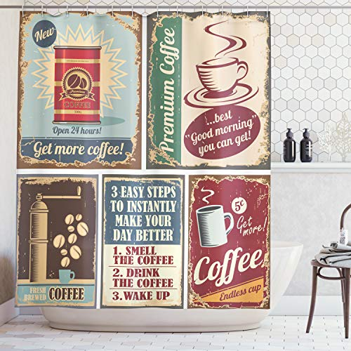 Espresso Poster Bed - Ambesonne 1950s Decor Collection, Coffee Posters and Metal Signs Artistic Design Bean Cup Tin Espresso Mug Cappuccino Logo, Polyester Fabric Bathroom Shower Curtain, 75 Inches Long, Ivory Red