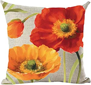 ramirar Oil Painting Watercolor Beautiful Red Orange Big Poppy Flowers Bud Decorative Throw Pillow Cover Case Cushion Home Living Room Bed Sofa Car Cotton Linen Square 18 x 18 Inches