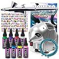 PointZero Complete Airbrush Nail Art Kit - 8 Color 240 Stencil Set