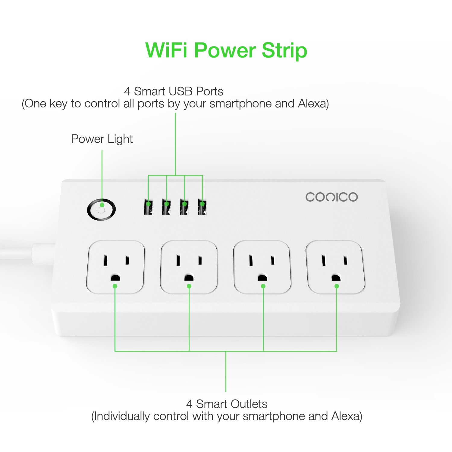 Conico 1sk33w Wi Fi Smart Power Strip Surge Protector Multi Outlet 120 Volt Plug Wiring Diagram With Multiple Plugs Has 4 Usb Ports And Individual Control Ac