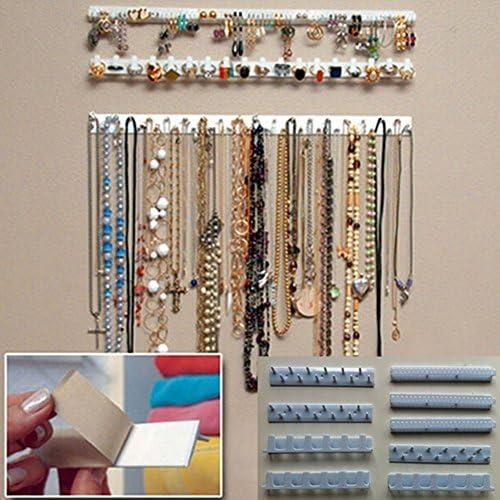 Organisateur de bijoux suspendu porte-collier double face 80 poches rangement pour la tenue de bijoux organisateur de bijoux avec cintre accessoires organisateur de cha/îne de bijoux Beige