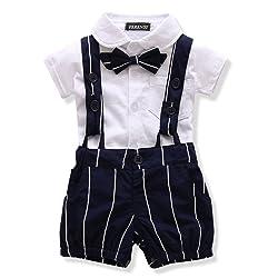 FERENYI US Baby Boys Bowtie Gentleman Romper Jumpsuit Overalls Rompers