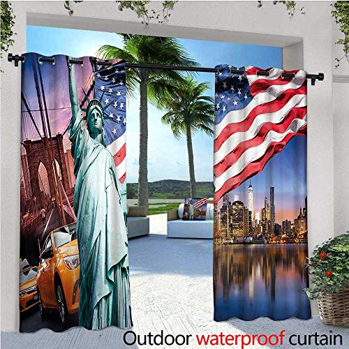 cobeDecor United States Exterior/Outside Curtains USA Touristic Concept Collection Statue of Liberty NYC Cityscape Flag Cars for Patio Light Block Heat Out Water Proof Drape W96 x L108 Multicolor ()