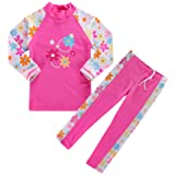 HUANQIUE Baby Girls 3-12 Years One Piece Swimwear Print Flower Swimsuit 50+UV Sun Protection Swimming Cosutme