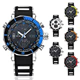 Men's Waterproof Wrist Watch Quartz Analog Digital Watch with Analog Week/Month Date Display