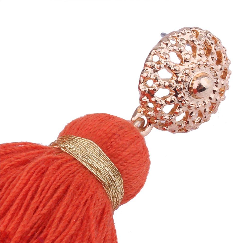 Aibelly Bohemian Retro Ethnic Short Tassel Statement Chandelier Dangle Drop Earrings New Fashion Handmade Thread Stud Earrings for Woman Girls by Aibelly (Image #6)
