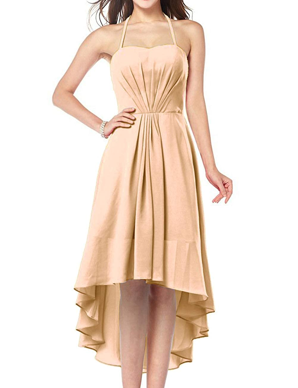 Champagne Uther Plus Size Bridesmaid Dresses Long Aline Halter Hi Lo Evening Prom Party Gown