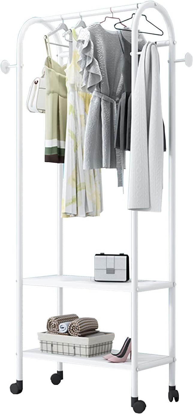 Perchero JIE- Rack de Abrigo de 2 Capas de pie, Estante de Almacenamiento para el hogar en Interiores, balcón, suspensión móvil Multifuncional, 3 tamaños (Size : 60x35x160CM)