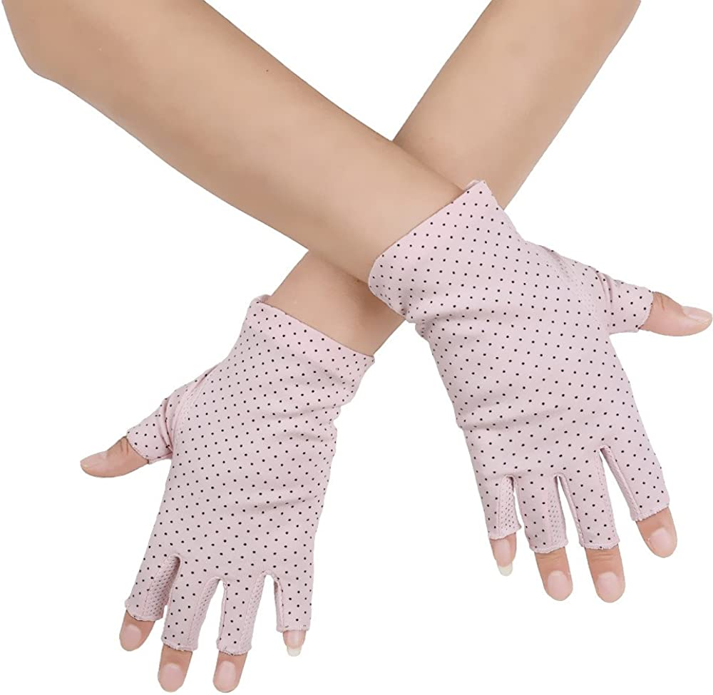 JISEN Women Sunscreen Fingerless Gloves UV Protection Driving Fishing Cotton Mittens