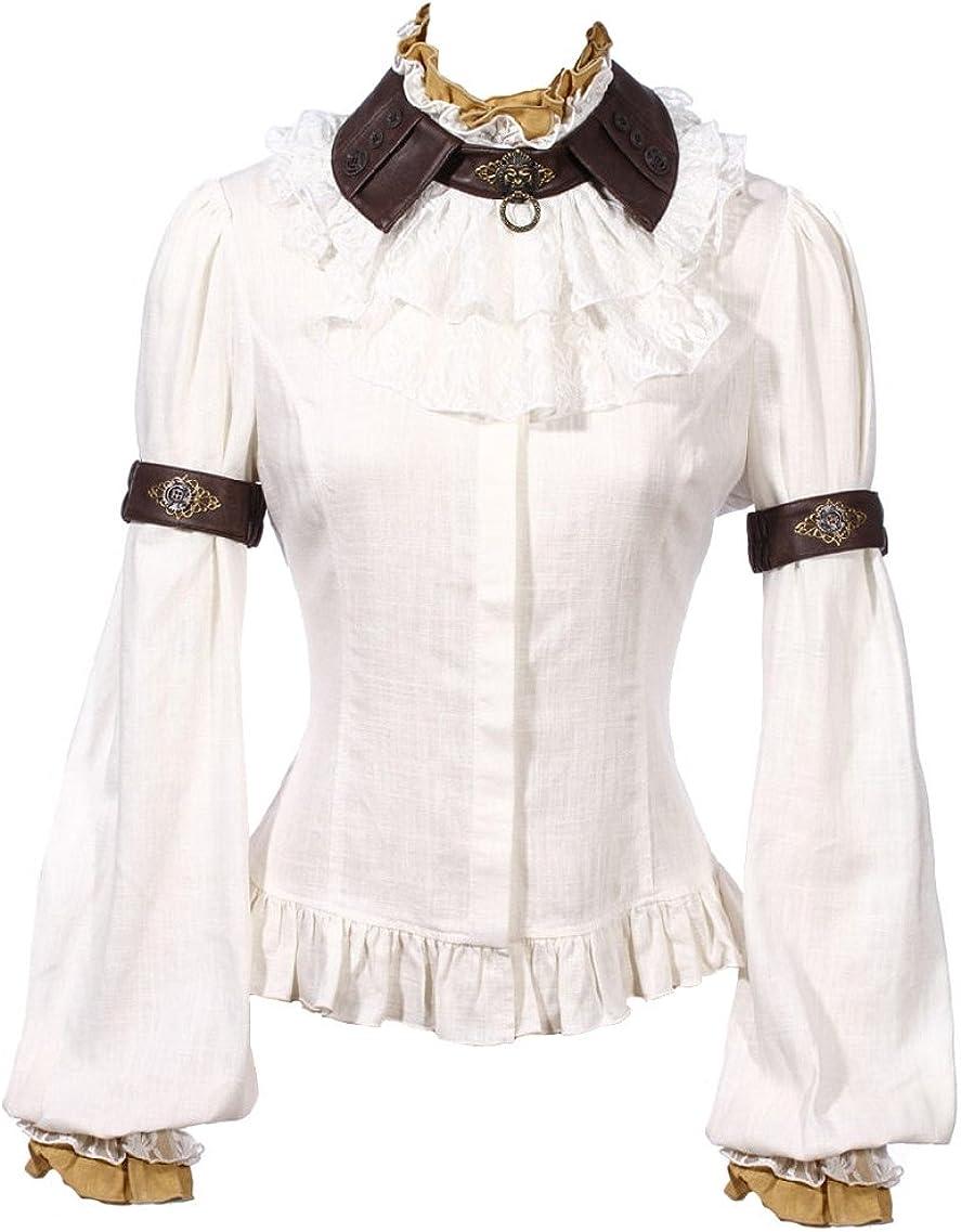 RQ-BL – Camisa Blanca con Volantes, Cuello, buche, Manga bouffantes Steampunk RQBL Blanco Medium: Amazon.es: Ropa y accesorios