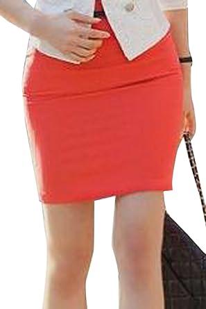 Mujeres Faldas Lapiz Solid Belted Mini Falda Corta Oficina Bodycon ...