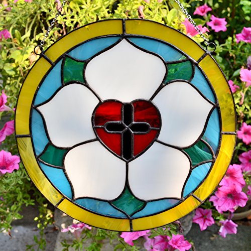 Luther Rose stained glass panel Christian window decoration or