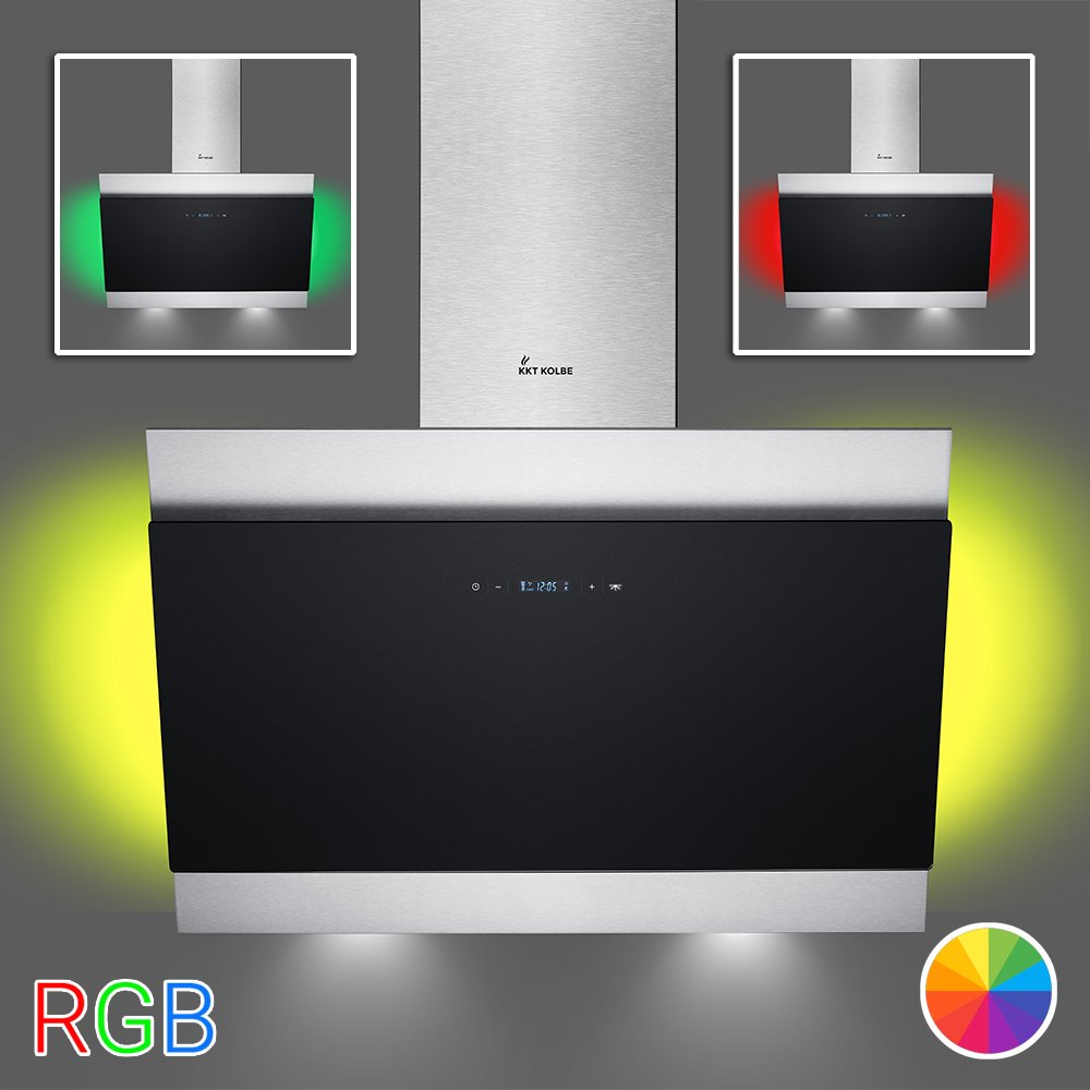KKT KOLBE BICOLORE80RGB Wall mounted hood / 90 cm Wall extractor hood/stainless steel/black design/easy to mount BICOLORE80SM