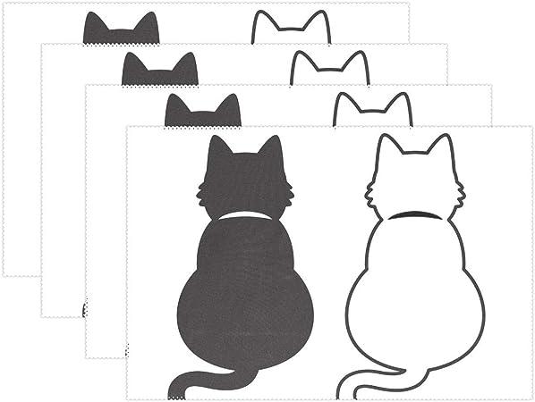 LVOE TTL Gato de Dibujos Animados Manteles Individuales Juego de 6 Alfombrillas de Mesa Antideslizantes para Mesa de Comedor Decoración de Mesa de Comedor: Amazon.es: Hogar