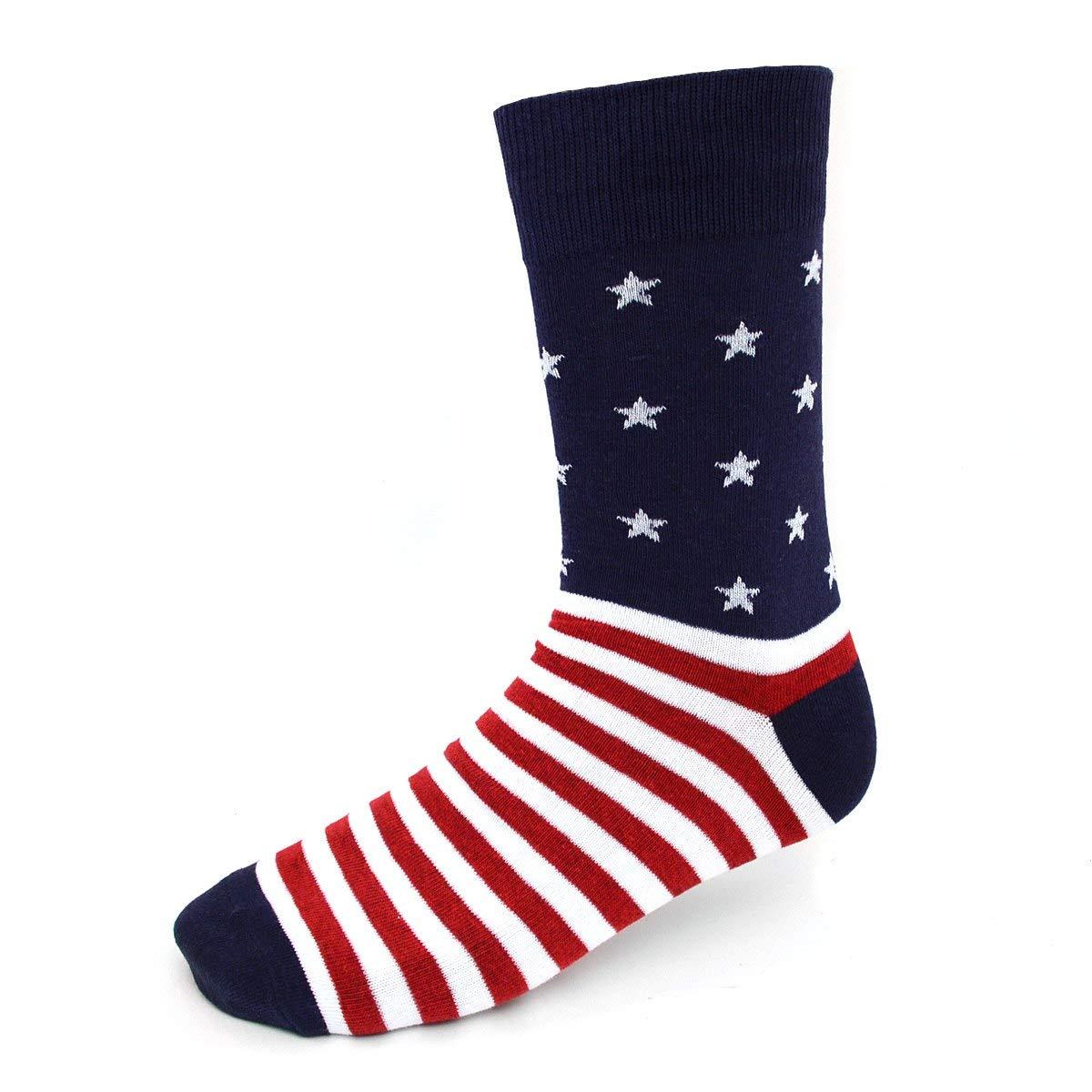 Stars and Stripes Novelty Dress Socks for Men Premium Cotton