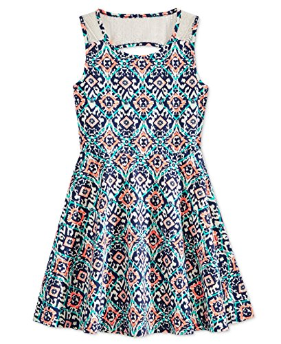 Epic Threads Boho Lace Back Dress, Big Girl Medieval Blue, Size -