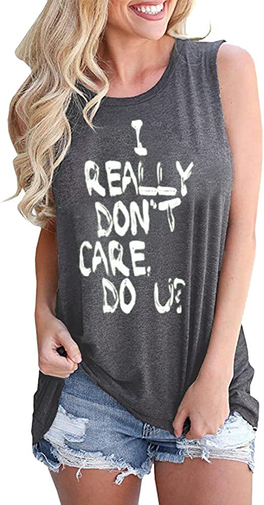 Featurestop Womens Letter Personality Print Loose Casual Tunic Tank Top