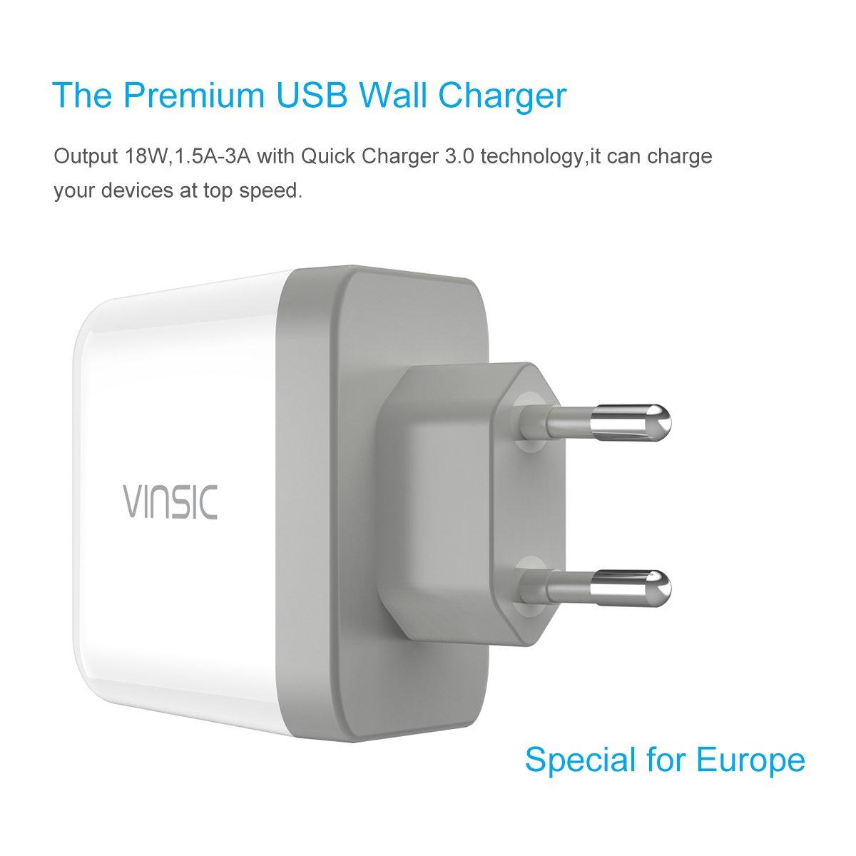 Nueva Versión] Cargador rápido 3.0, Vinsic Quick Charge 3.0 USB ...