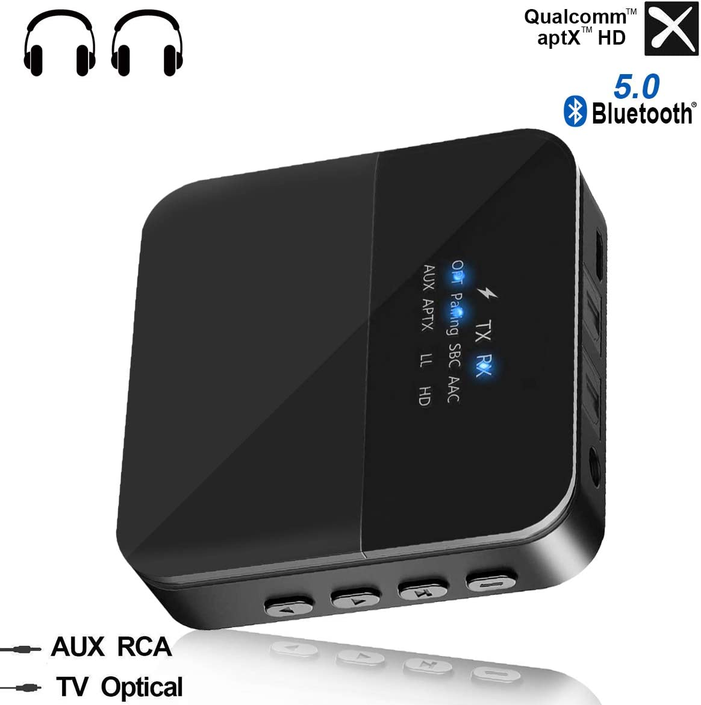 Transmisor Receptor Bluetooth 5.0 Adaptador de Audio Bluetooth SPDIF óptico Digital, RCA y Cable de Audio de 3.5 mm aptX HD, aptX LL Baja Latencia, 2 Conexiones para TV PC Coche Sistema