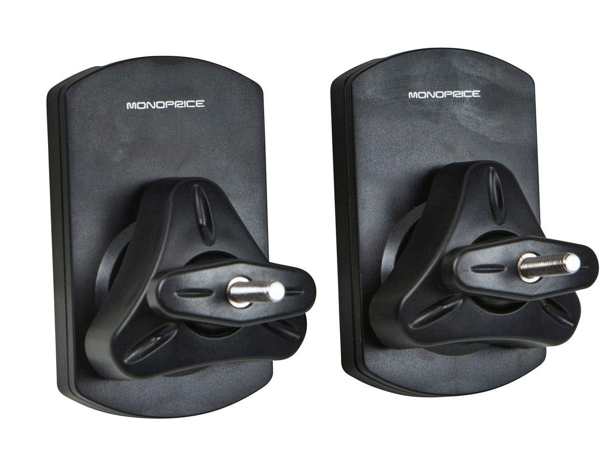 Monoprice Low Profile 22 lb. Capacity Speaker Wall Mount Brackets (Pair) Black by Monoprice