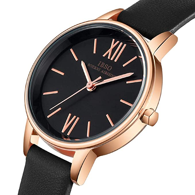 Amazon.com: IBSO Ladies Watches Leather Band Round Case Fashion Women Watches on Sale relojes Mujer (8662-Black): Watches