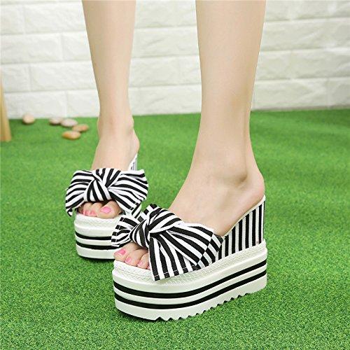 zapatillas nuevo b verano 2018 FLYRCX aguja de con casual de moda tacón rayas dama pajarita zapatos EqZTnTY