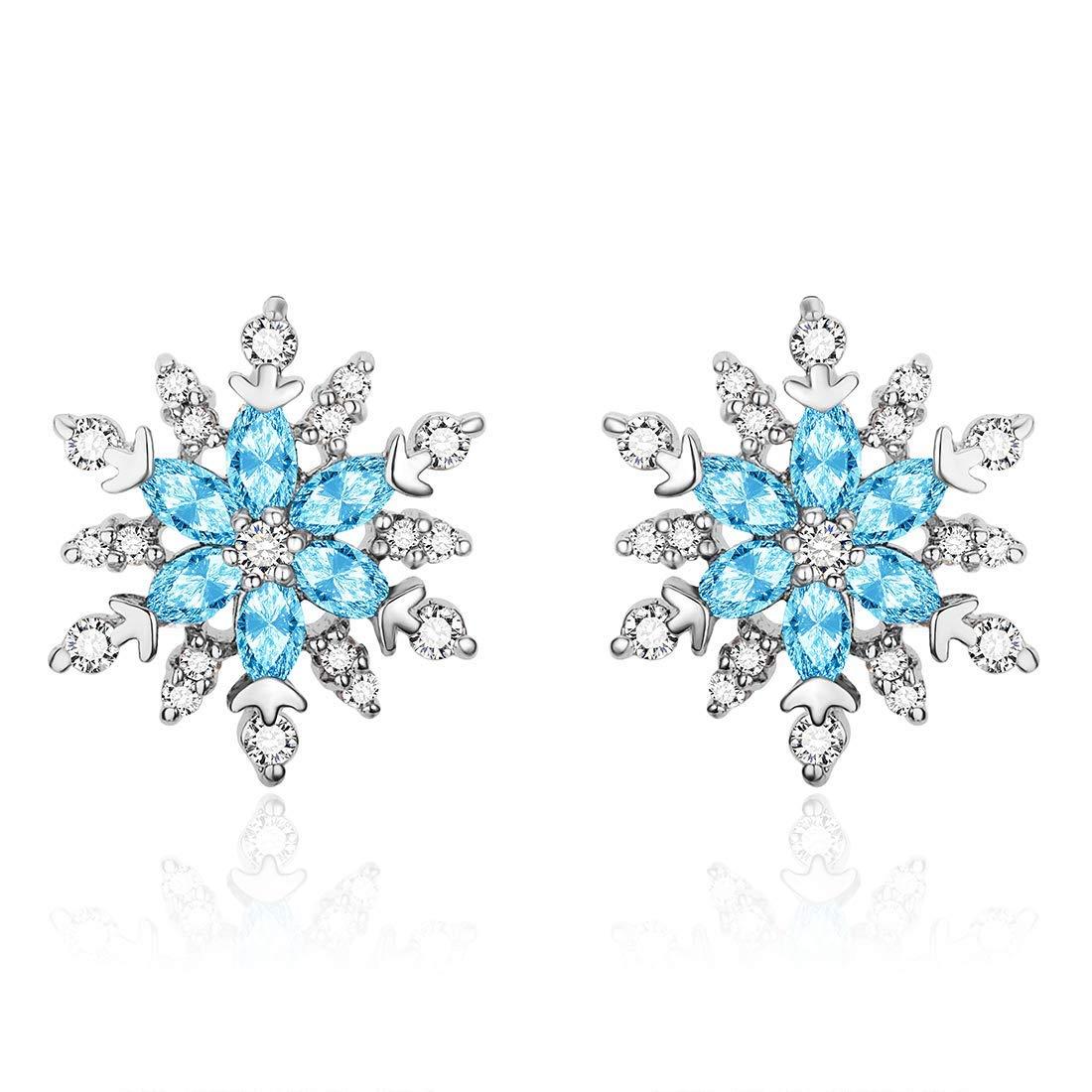 Flocon de Neige Pendentif Collier//Clous Boucles dOreilles Bijoux en Argent 925//1000 avec Bleu Oxydes De Zirconium pour Femmes Filles