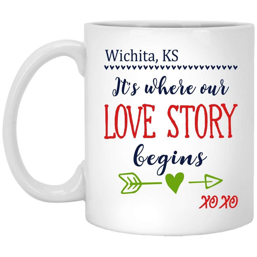 Valentine Gift For Men, Couple - Wichita KS Kansas Its Where Our Love Story Begins XOXO - Funny and Cute Mug For Husband, Wife in Birthday, Wedding Anniversary - Ceramic Coffee Mug 11oz