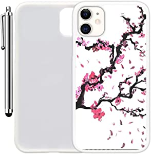 """Custom Case Compatible with iPhone 11 (6.1"""") (Cherry Tree Branch) Edge-to-Edge Rubber White Cover Ultra Slim 