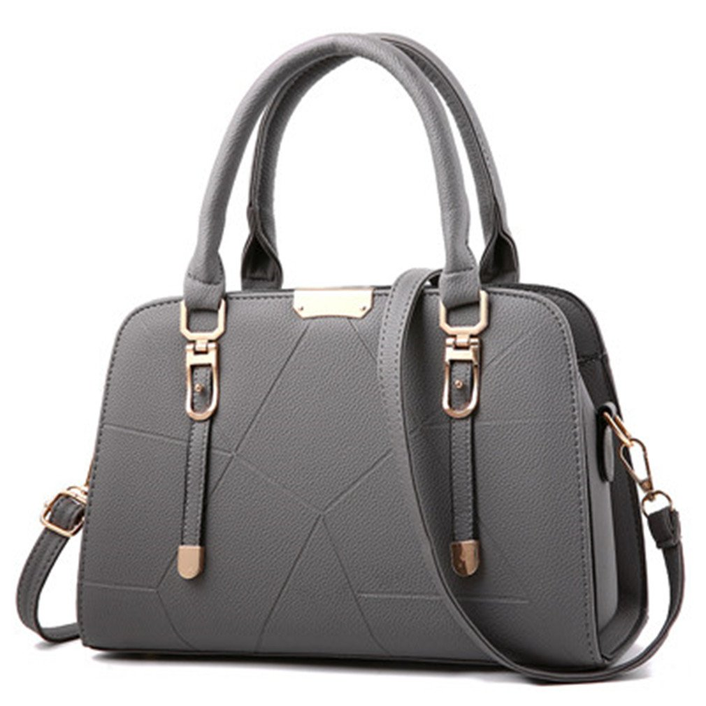 Chic-Dona Women Leather Handbags Bag For Women Thread Bag Female handbags crossbody Bag Gray 31x11x21cm