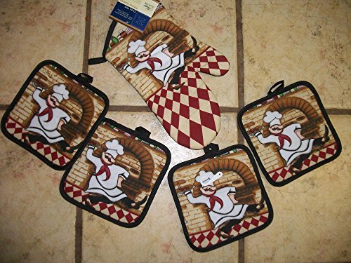 Fat Chef Bistro 4 Pot Holders and Matching Oven Mitt (Fat Bistro Chef Dishes compare prices)
