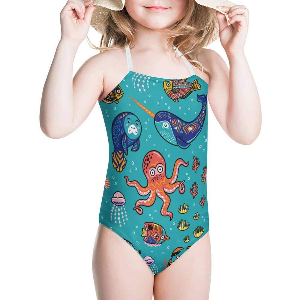 KiuLoam Cartoon Octopus Seal Narwhal Girls Swimwear One Piece Swimsuits Bathing Suit for 3-8 Years Baby Girl