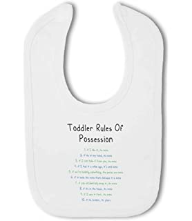 Toddler Rules Of Possession Green/blue Funny   Baby Bib