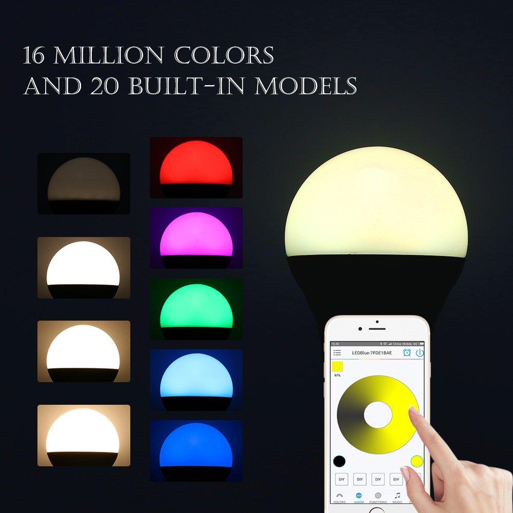 EleLight Bombilla Multicolor Inteligente Impermeable IP25 Bluetooth 4.0 que Cambia la Luz LED RGB: Amazon.es: Iluminación