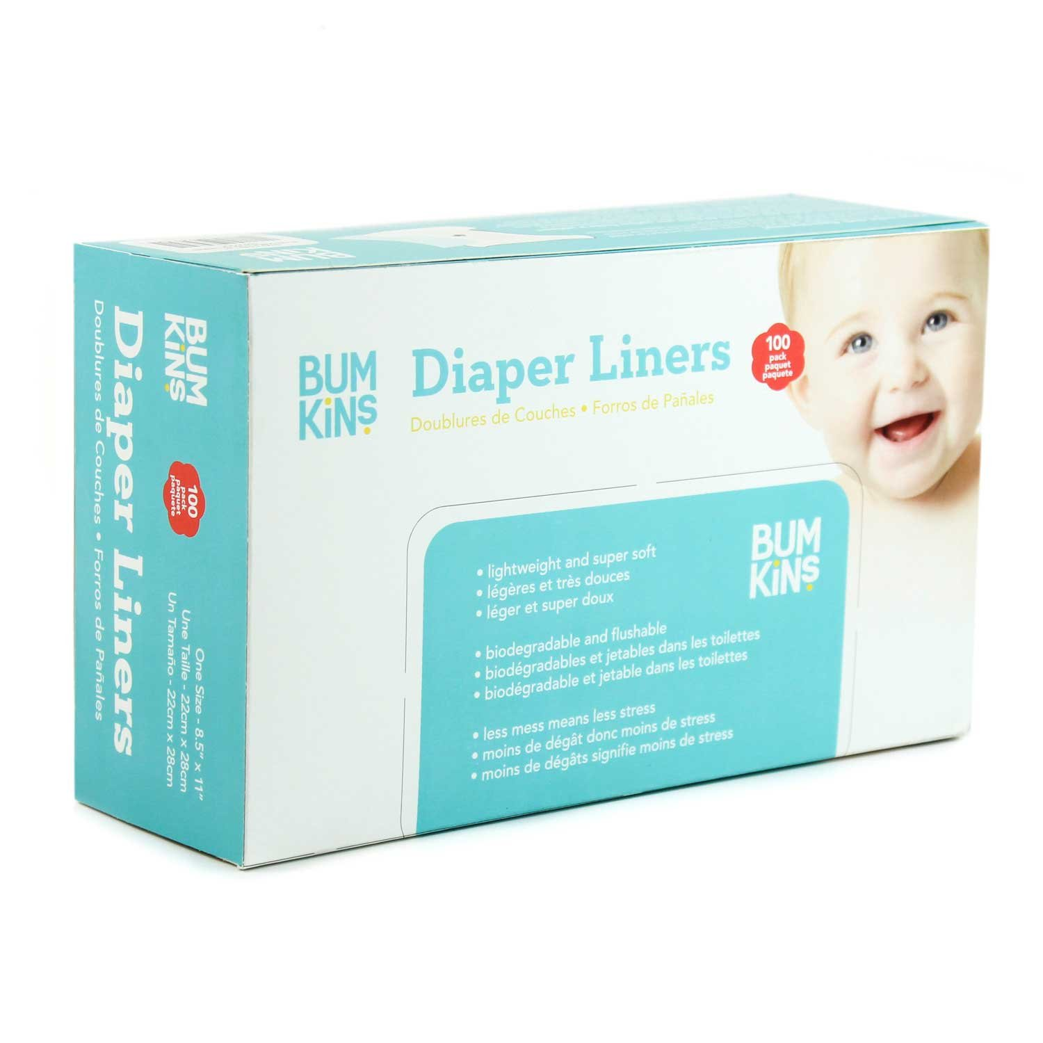 Bumkins Flushable Biodegradable Cloth Diaper Liner, Neutral, 100 Count, (Pack of 1) DLW