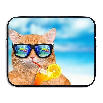 f8d42645ac7d Amazon.com: Sunmoonet Laptop Sleeve, Funny Cat Drinking Juice 13 ...