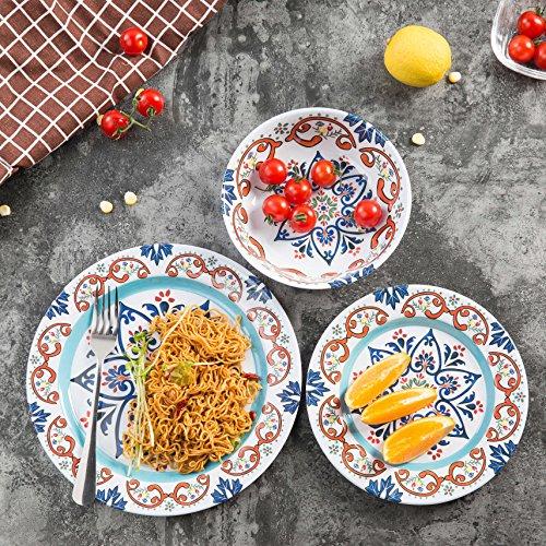 Dinnerware Set For 4-12 Pcs Melamine Dinner Plates Set for Camping, Unbreakable, Dishwasher Safe