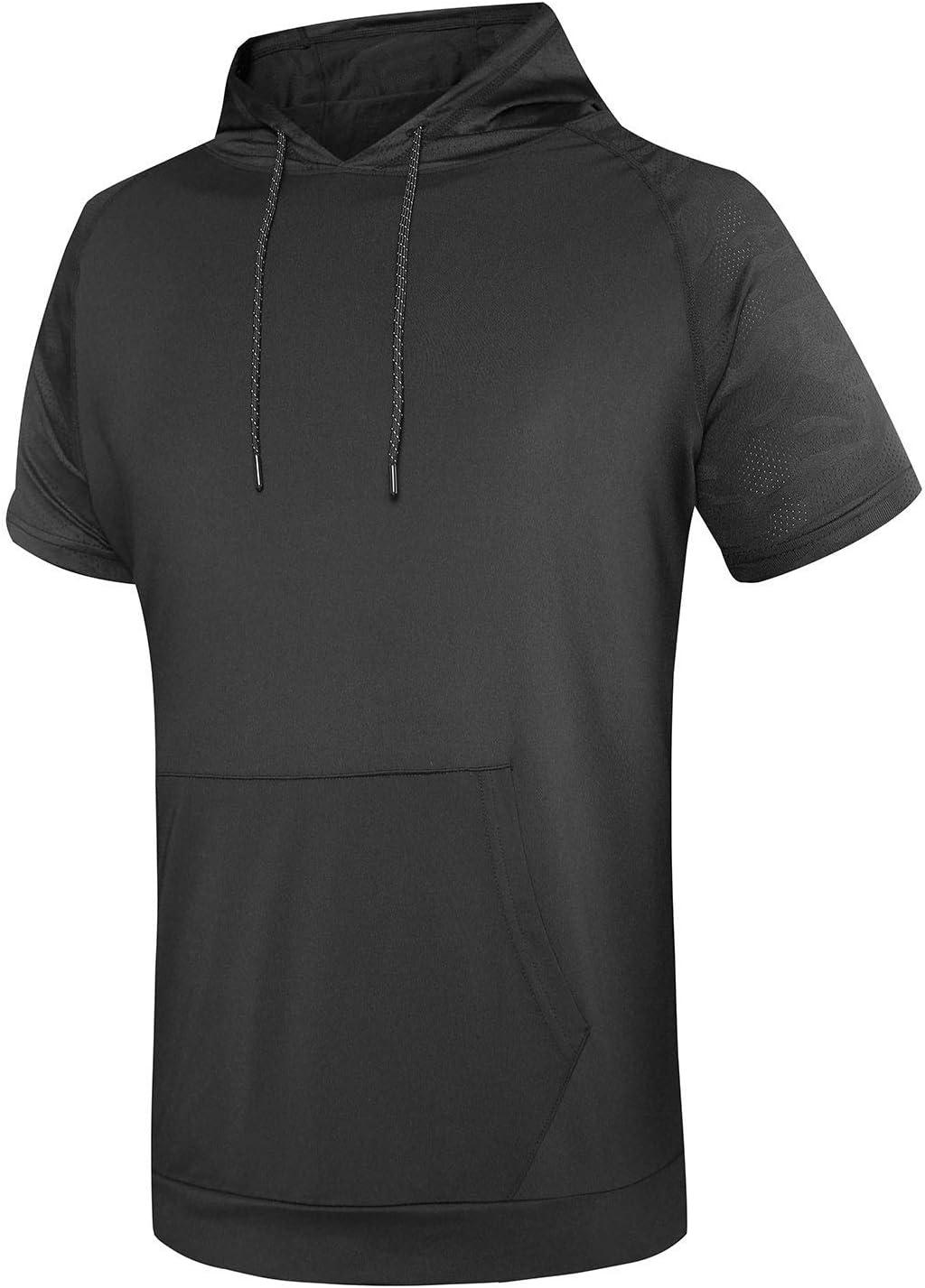 WHCREAT T-Shirt Sportiva da Uomo Manica Corta Allenamento Asciugatura Veloce Felpa con Cappuccio