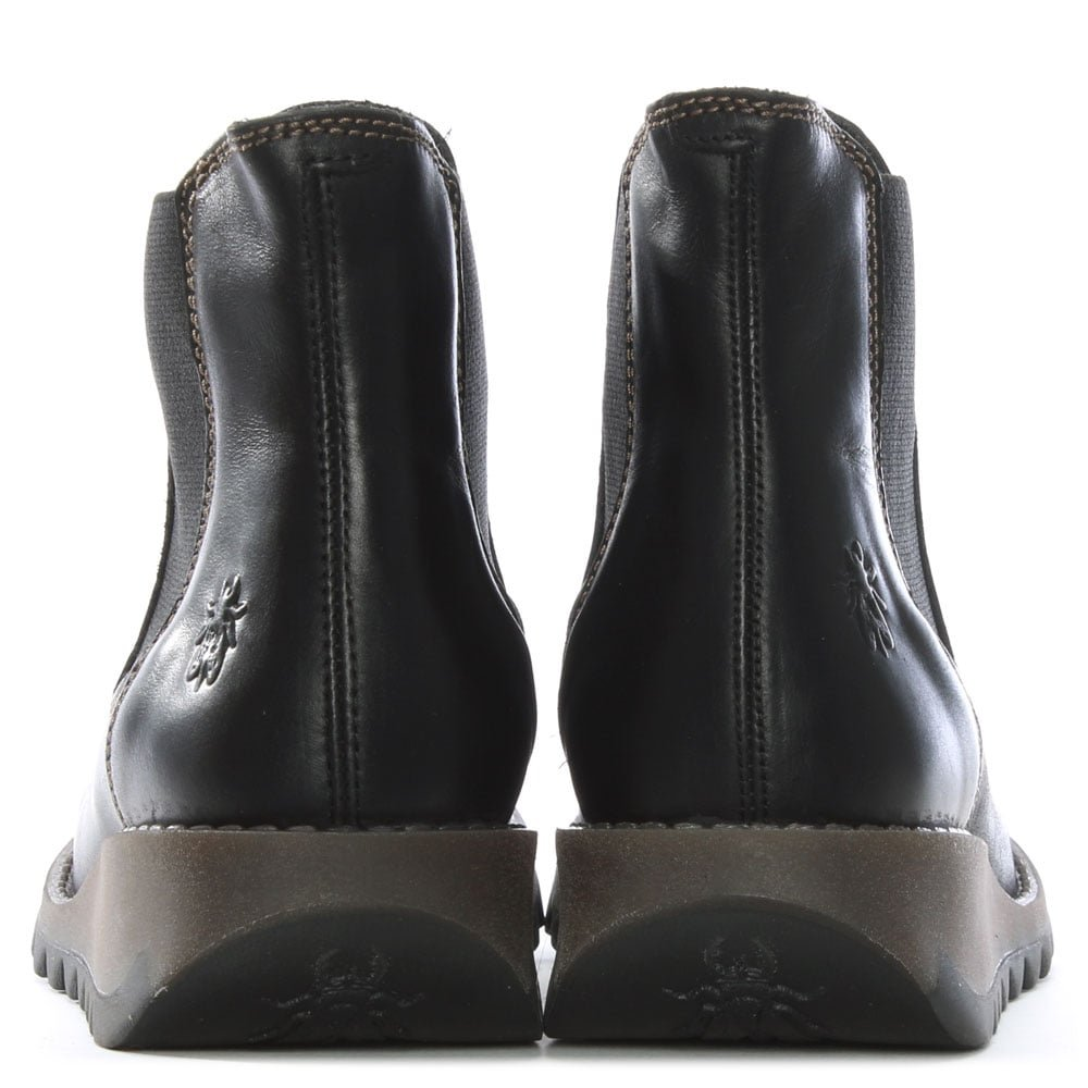 FLY London London London Alessi aus schwarzem Leder Keil Stiefel chelsea a50cb1