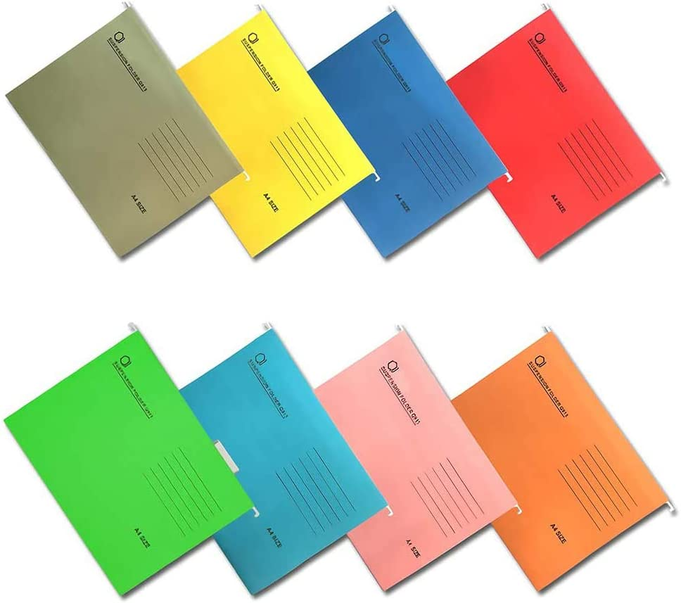 QWEPU Cartelle Sospese A4 per Cassetti Cartelle portadocumenti da appendere Colori Assortiti 8 pezzi