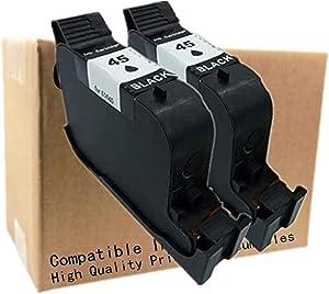 No-name Remanufactured Ink Cartridges Replacement for HP 45 XL 45XL HP45 HP45XL Color Copier 155 160 170 180 190 210 DesignJet 350cd 700 750c 750c Plus 755 755cm 1120c 1125c 1150cxi (2 Black)