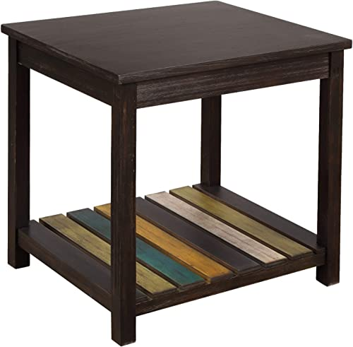 P PURLOVE End Table Solid Wood MDF Coffee Table for Living Room Sofa Table with Colorful Open Shelf Easy Assembly