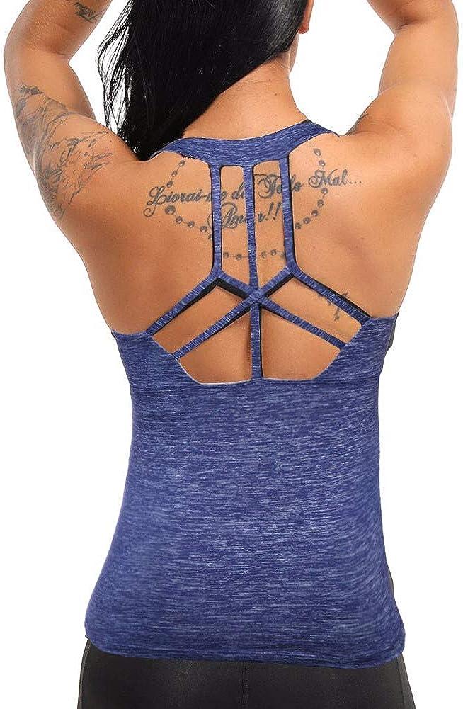 COLO Damen Yoga Tank Top Workout Tops offener R/ücken Racerback Integriertes BH herausnehmbares Pad