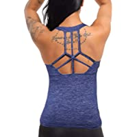 a2634e4fd0387 COLO Women Yoga Tank Top Workout Tops Open Back Racerback Built in Bra  Removable Pad …