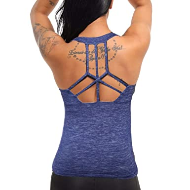 618a2cb8c6 Amazon.com: COLO Women Yoga Tank Top Workout Tops Open Back Racerback Built  in Bra Removable Pad …: Clothing