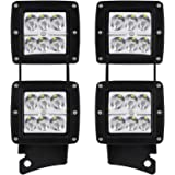 "AUSI Windshield A-Pillar Lower Corner Mounting Brackets Hinge Mount Brackets W/ 4pcs 18W 3x3"" Spot Pods Cube Led Fog Lights OffRoad Work Lights For 2007-2015 Jeep Wrangler JK Unlimited Sahara Rubicon"