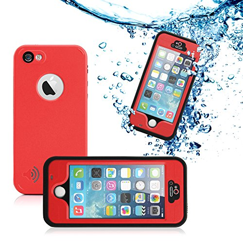 GEARONIC TM New 2016 Durable Waterproof Shockproof Snow DirtProof Fingerprint Scanner Full Case Cover For Apple iPhone SE 5 5S - Red