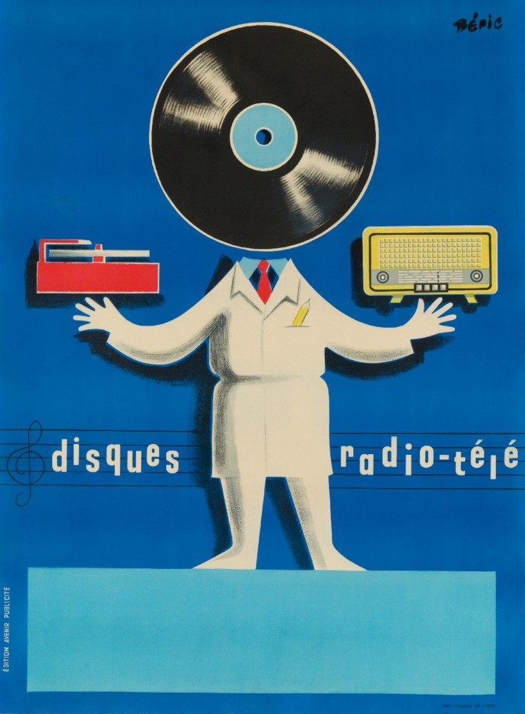 Disquesラジオ – Tele Vintageポスター(アーティスト: Beric ) C。1950 12 x 18 Art Print LANT-63882-12x18 12 x 18 Art Print  B017Z6ZTYS